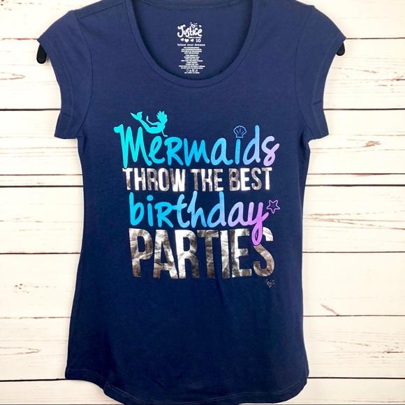 JUSTICE Mermaid Birthday Blue T Shirt